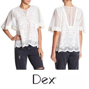 Dex eyelet ivory white blouse